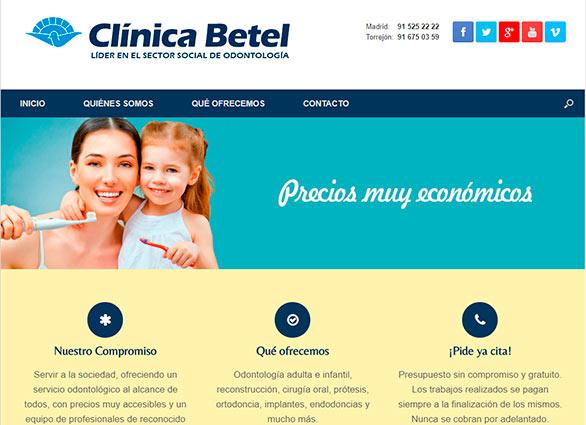 Página Web de la Clínica Dental Betel